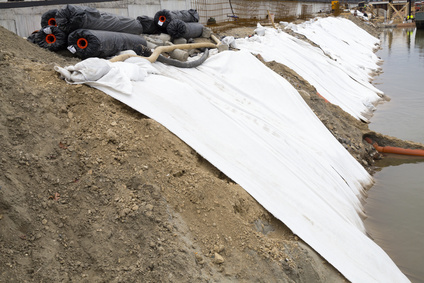 Geotextile river bank protection